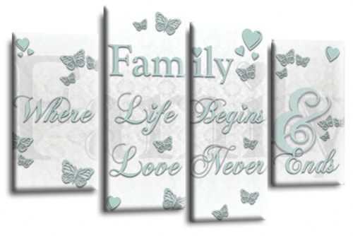 Family Quote Canvas Wall Art Picture Print White Duck Egg